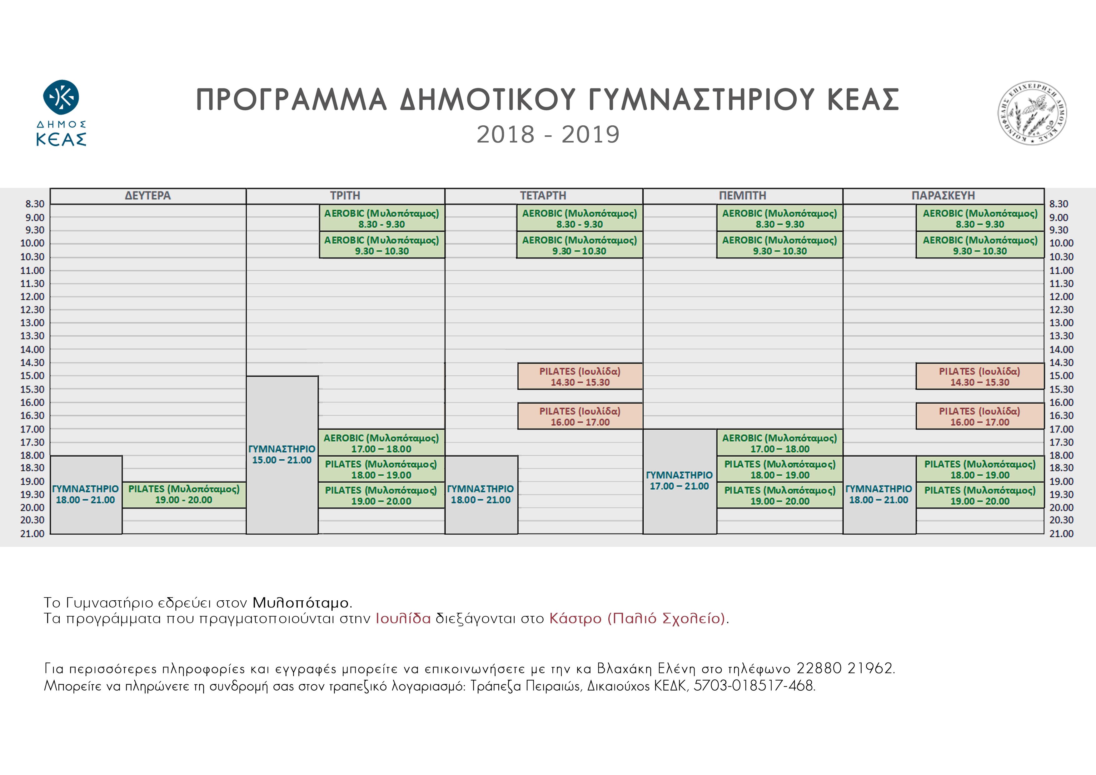Πρόγραμμα Δημοτικού Γυμναστηρίου Κέας 2018 – 2019